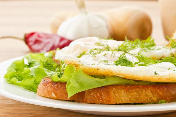 Tost sahanda yumurta salata yumurta plaka kahvaltı Stok fotoğraf © Peredniankina