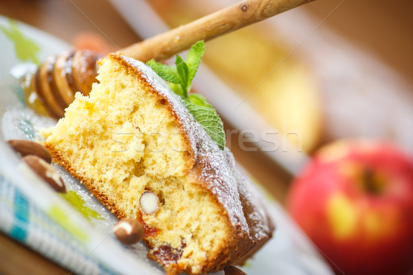 sponge cake with dried apricots and almonds Stock photo © Peredniankina