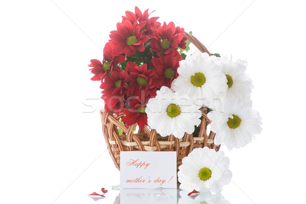 Foto stock: Rojo · blanco · cesta · flores · belleza · verano