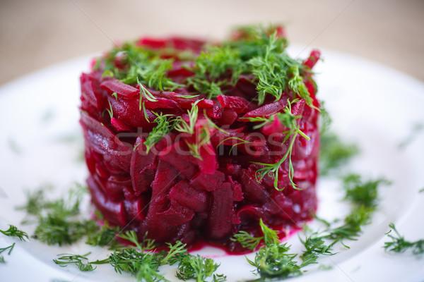Saláta vegetáriánus főtt természet háttér eszik Stock fotó © Peredniankina