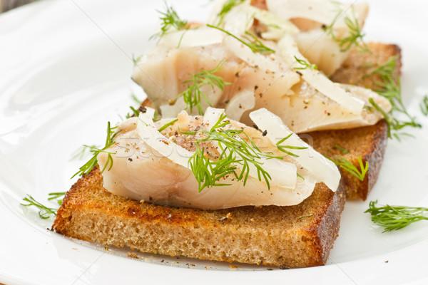 Sózott makréla grillezett pirítós fűszerek hal Stock fotó © Peredniankina
