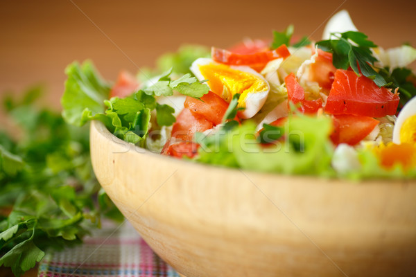 fresh salad with cabbage and red fish Stock photo © Peredniankina