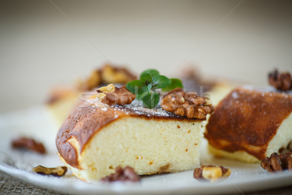 Cottage cheese casserole with walnuts Stock photo © Peredniankina