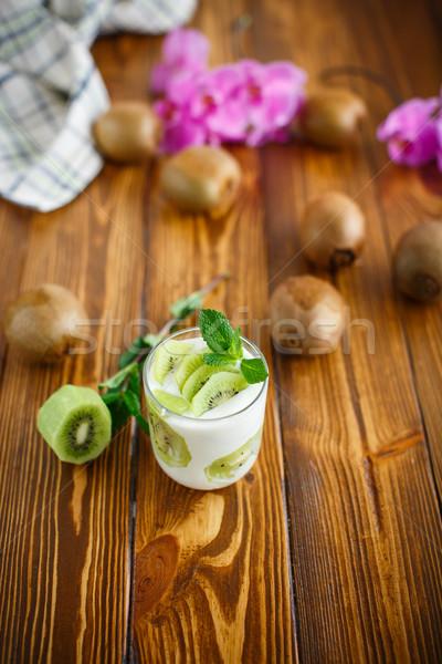 греческий йогурт киви стекла продовольствие фрукты Сток-фото © Peredniankina