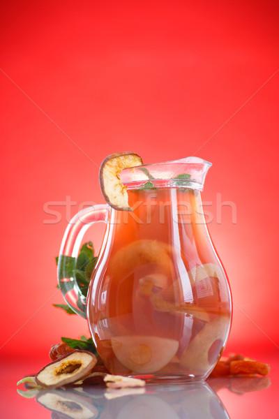 Aszalt gyümölcsök üveg piros ősz hideg Stock fotó © Peredniankina