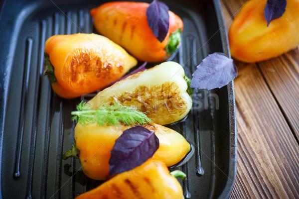 Pimientos pimienta frito petróleo sartén Foto stock © Peredniankina