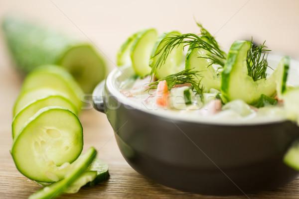 Stock fotó: Hideg · uborka · leves · zöldségek · serpenyő · fa