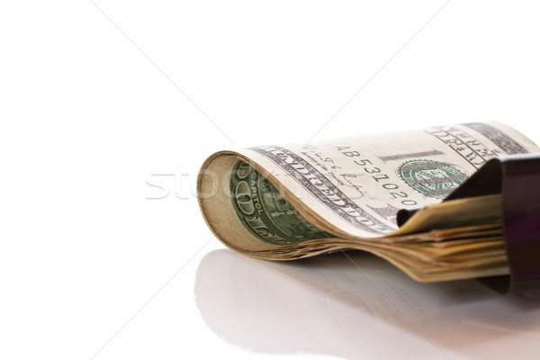 Dollars trombone blanche bureau argent signe Photo stock © Peredniankina