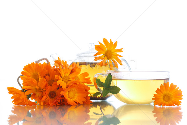 Chá medicinal flores branco comida folha vidro Foto stock © Peredniankina