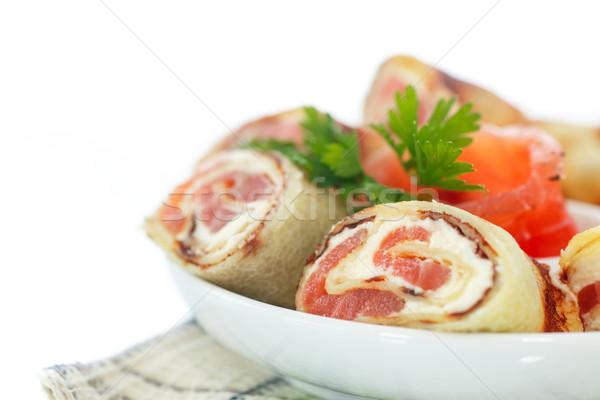Palacsinták sajt sózott lazac fehér étel Stock fotó © Peredniankina