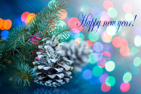 Gelukkig nieuwjaar christmas pine kegel tak kerstboom Stockfoto © Peredniankina