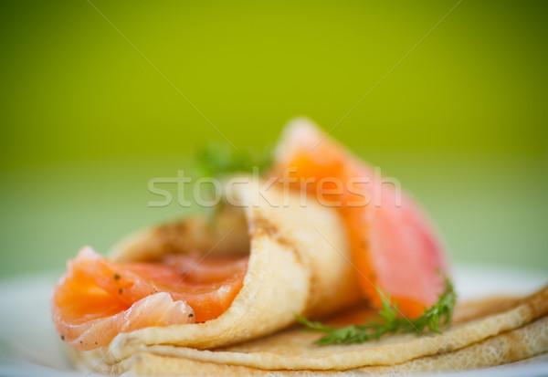 stack of pancakes with salted salmon Stock photo © Peredniankina