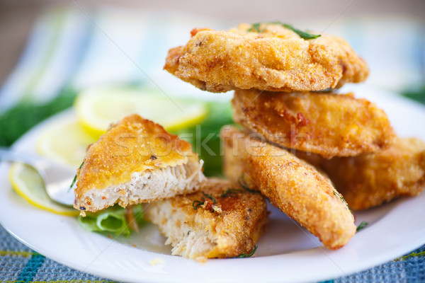 chicken fried in batter with dill Stock photo © Peredniankina