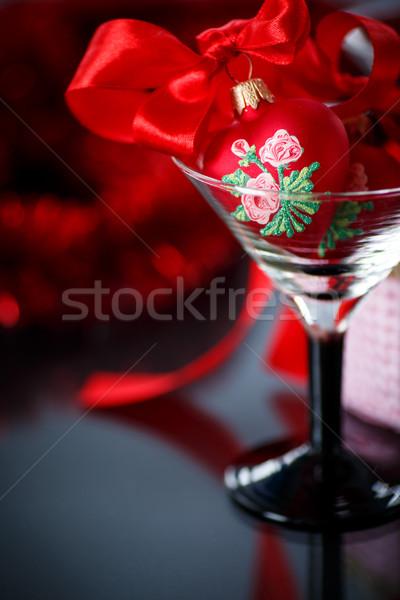 クリスマス 赤 心 花輪 黒 幸せ ストックフォト © Peredniankina