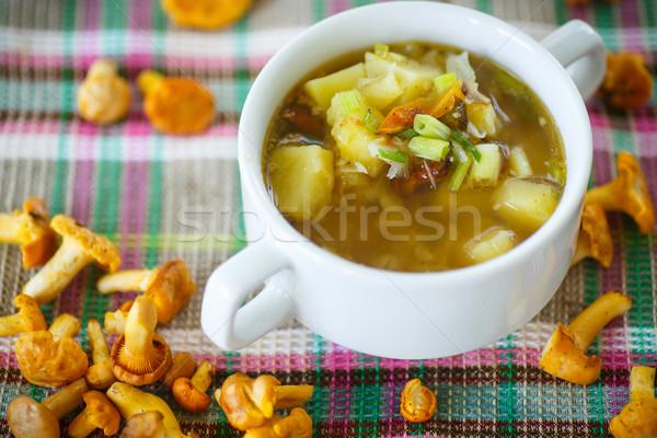 Zupa jarzynowa grzyby puchar tabeli tablicy biały Zdjęcia stock © Peredniankina