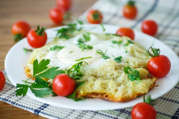 卵 チェリートマト プレート 朝食 ストックフォト © Peredniankina