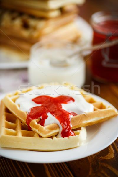 Viennese waffles with yogurt and strawberry jam  Stock photo © Peredniankina