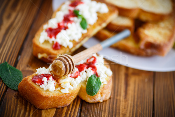 fried in batter toast with cream cheese and jam Stock photo © Peredniankina