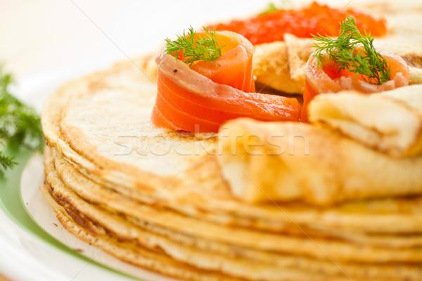 Palacsinták sózott lazac boglya tányér étel Stock fotó © Peredniankina