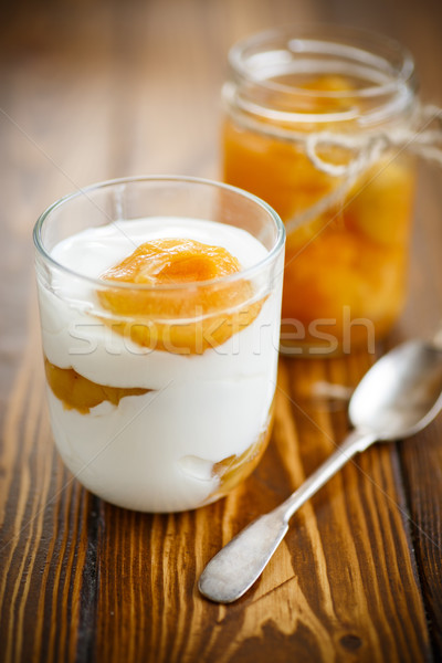 Greek yogurt with canned apricots in a glass  Stock photo © Peredniankina