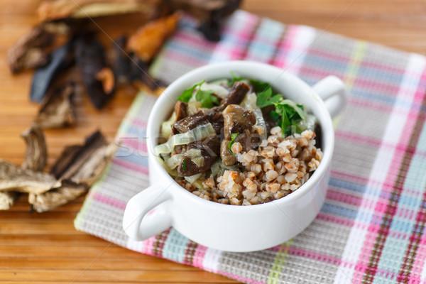 Cogumelos mesa de madeira comida cozinha jantar Foto stock © Peredniankina