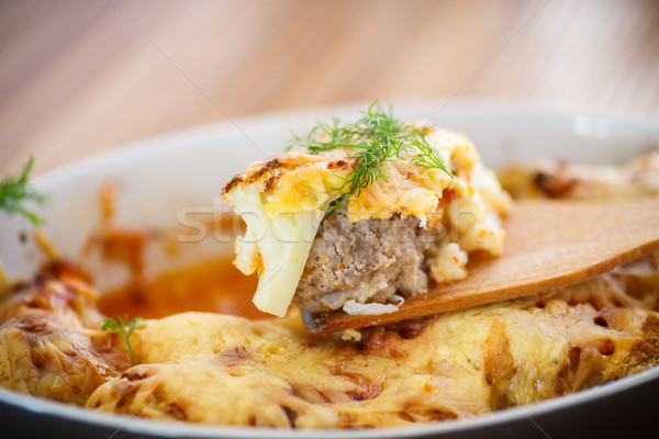 cauliflower baked with meatballs Stock photo © Peredniankina