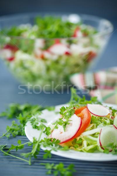 Foto stock: Verduras · frescas · ensalada · verduras · frescas · placa · mesa · de · madera · alimentos