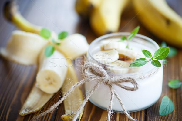 Tatlı muz yoğurt ev cam kavanoz Stok fotoğraf © Peredniankina