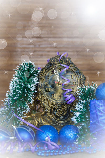 Yeni yıl saat dizayn kar arka plan Stok fotoğraf © Peredniankina