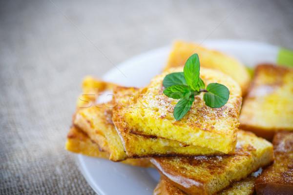 sweet toast fried egg sprinkled Stock photo © Peredniankina