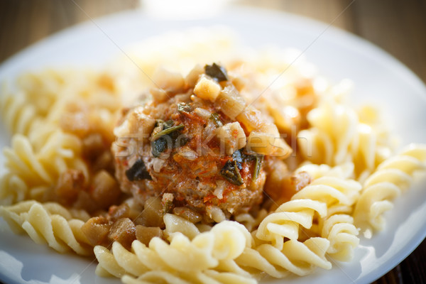 meatballs with sauce and noodles Stock photo © Peredniankina