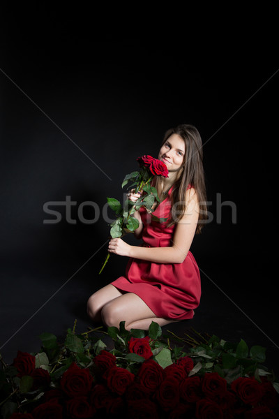 beautiful girl with roses Stock photo © Peredniankina