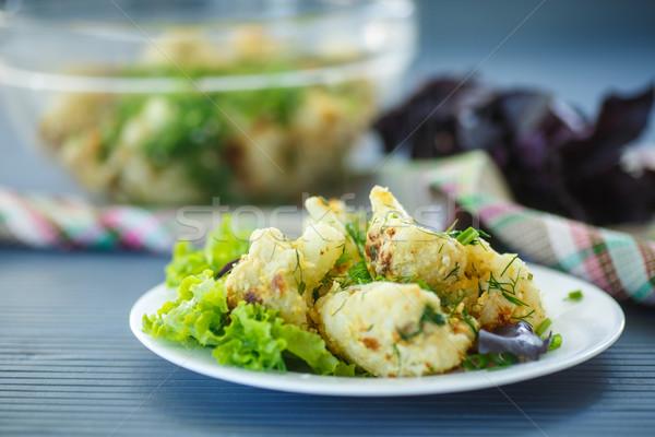 フライド カリフラワー ハーブ プレート 食品 チーズ ストックフォト © Peredniankina