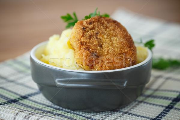 Сток-фото: картофель · жареный · деревянный · стол · кухне · обеда · мяса