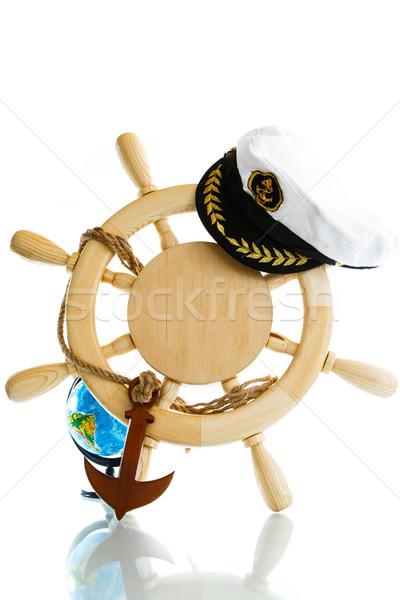 Dekoracyjny kierownica biały świecie drewna Zdjęcia stock © Peredniankina