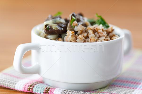 Boiled buckwheat with mushrooms Stock photo © Peredniankina