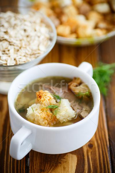 Avena sopa tazón mesa fondo verde Foto stock © Peredniankina