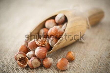 Mogyoró mogyoró kagyló asztal zsákvászon fény Stock fotó © Peredniankina
