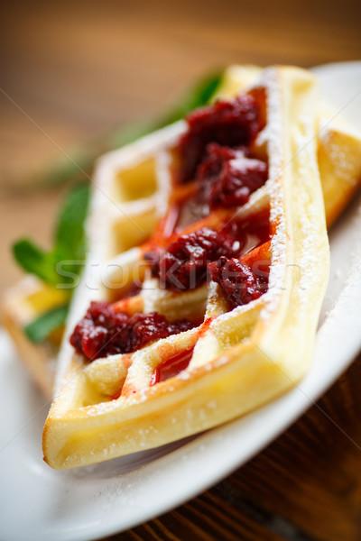 Porcukor tányér étel gyümölcs reggeli friss Stock fotó © Peredniankina