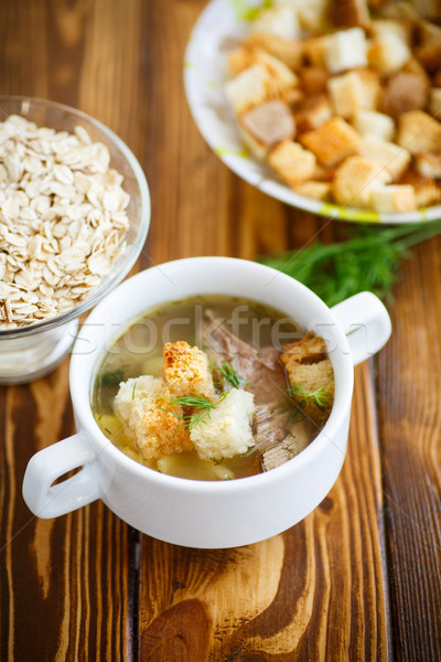 oat soup with croutons Stock photo © Peredniankina