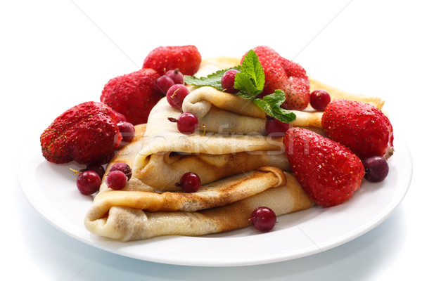 pancakes with strawberries Stock photo © Peredniankina