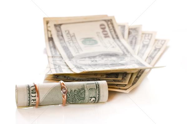 Dollar omhoog goud ring witte geld Stockfoto © Peredniankina