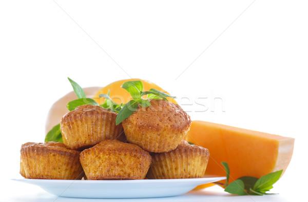 édes sütőtök muffinok fehér étel háttér Stock fotó © Peredniankina