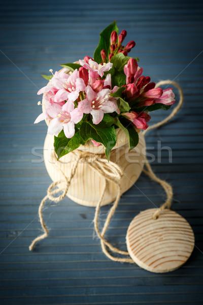 Stockfoto: Mooie · hout · vaas · tabel · bloem