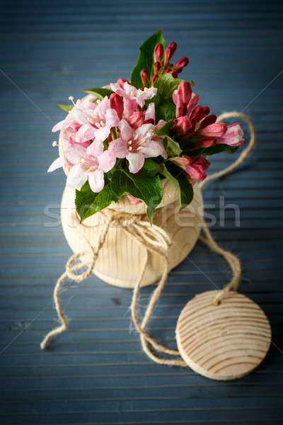 Hermosa madera jarrón mesa flor Foto stock © Peredniankina