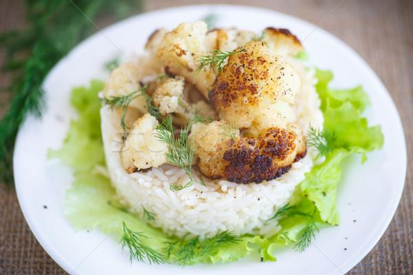 Frito couve-flor arroz acompanhamento comida Foto stock © Peredniankina