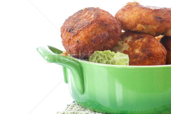 Frito albóndigas hierbas blanco alimentos fondo Foto stock © Peredniankina