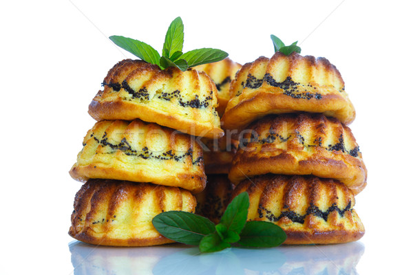 Muffin sajt töltelék pipacs fehér torta Stock fotó © Peredniankina