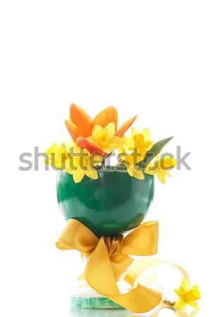 水仙 花束 黄色 チューリップ 緑 花瓶 ストックフォト © Peredniankina