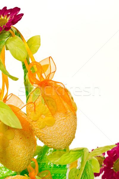 Foto stock: Decorativo · huevos · de · Pascua · flores · blanco · primavera · huevo